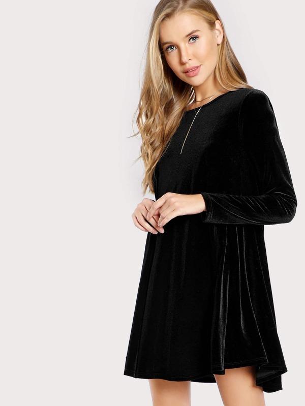 Samt Kleid mit langen Ärmeln - German SheIn(Sheinside)
