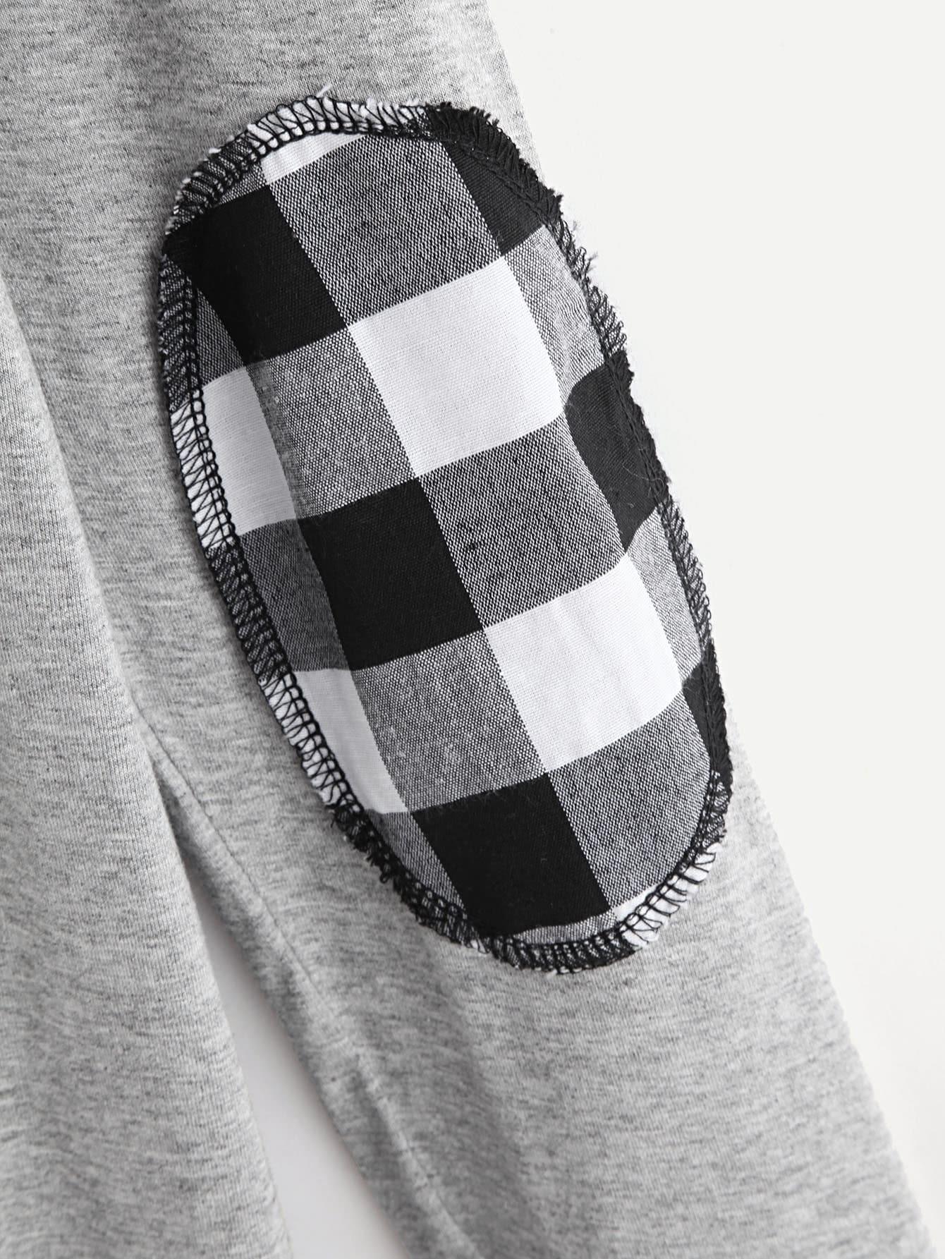 elbow patch template - contrast elbow patch raglan sleeve tee shein sheinside
