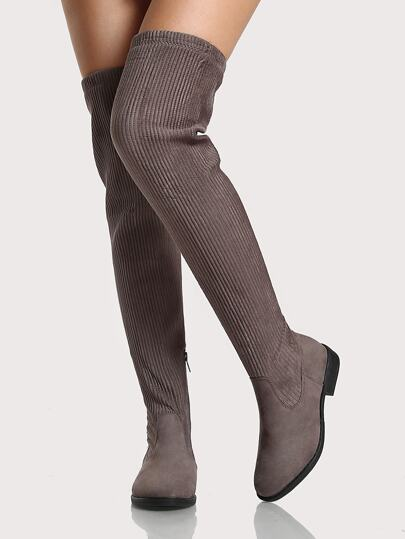 Round Toe Ribbed OTK Boots GREY