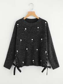 Pearl Beading Lace Up Side Jumper