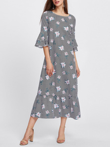 Layered Bell Sleeve Mixed Print Ruffle Hem Dress