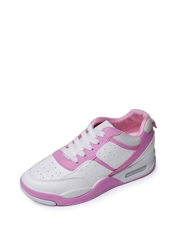 4ddd7240a حذاء مسطح مزدوج باللون الابيض والورد   شي إن
