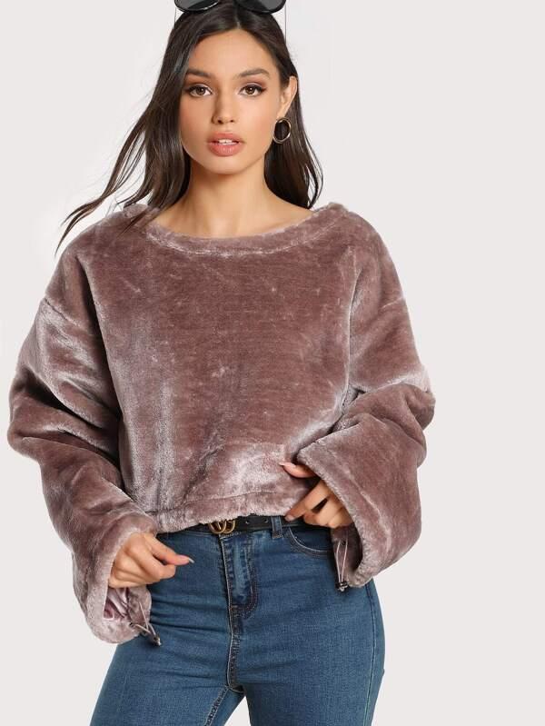 24926a40d43595 Drawstring Cuff And Hem Faux Fur Crop Sweatshirt