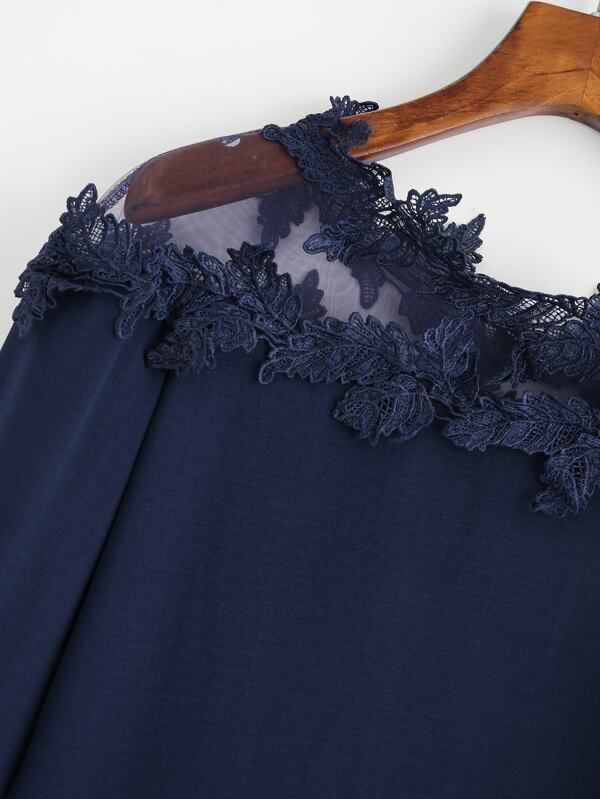 825b9e394a7368 Mesh Panel Crochet Appliques Asymmetric Cold Shoulder Blouse