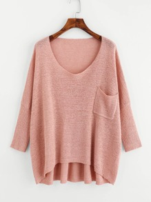 Drop Shoulder Pocket Front Dip Hem Sweater