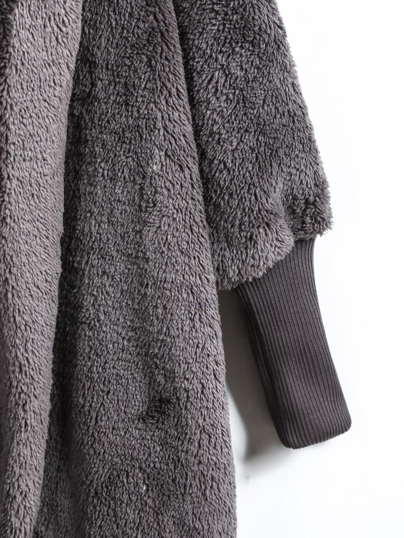 d80d3d3ec9 Open Front Faux Fur Hooded Teddy Coat | ROMWE