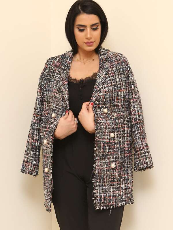 4b57363e7f Frayed Edge Tweed Longline Blazer | SHEIN UK