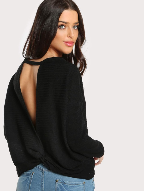 9a6e1243 Open Back Knot Long Sleeve Top BLACK | SHEIN