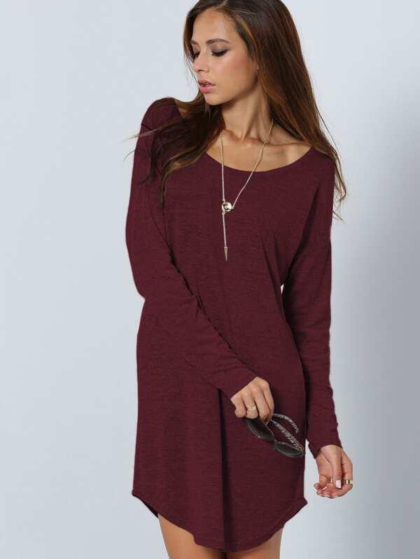 V Cut Back Curved Hem Dress  5178917d3