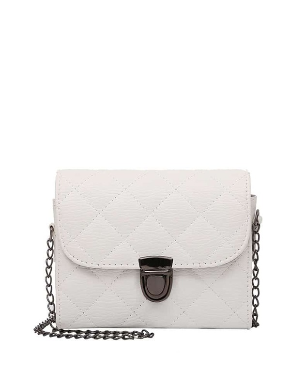 Push Lock Quilted PU Crossbody Chain Bag, White