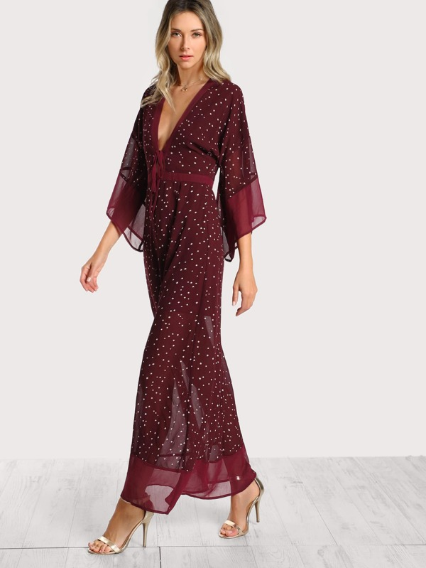 Star Print Split Back Plunging Kimono Dress -SheIn(Sheinside)