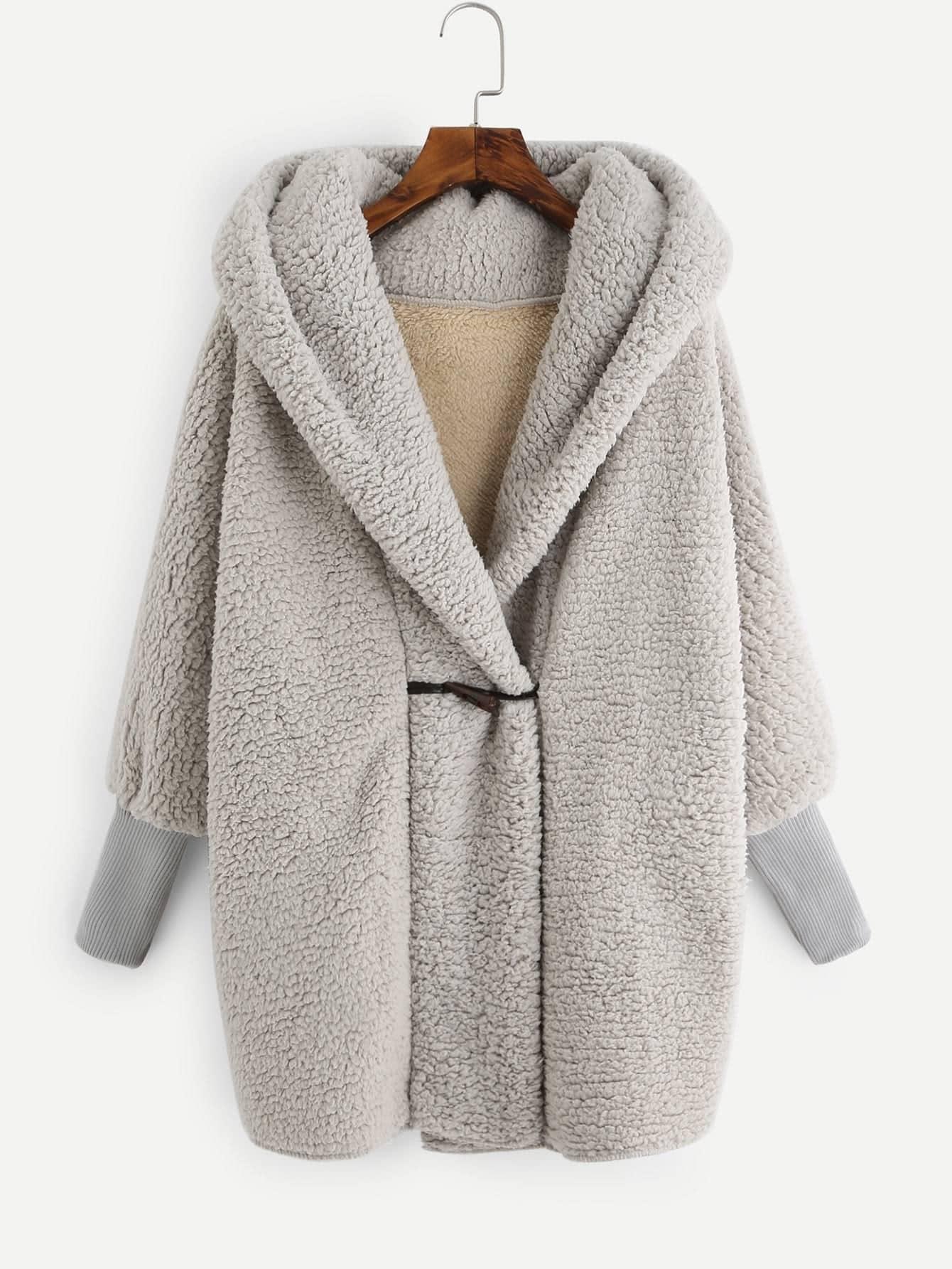Hooded Fluffy Loose Teddy Coat -SheIn(Sheinside)