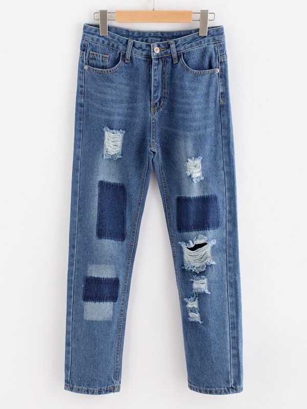 34575c0b959d Bleach Wash Extreme Distressing Jeans | SHEIN