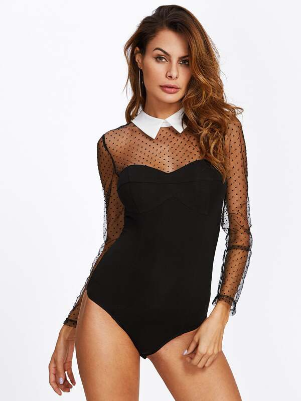 5795a1009 Dot Mesh Yoke And Sleeve Contrast Collar Bodysuit