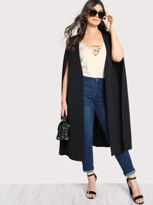 Plus Solid Longline Cape Coat