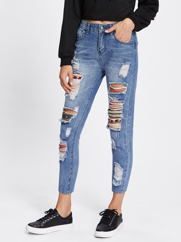 c498b4605486 Tribal Ribbon Insert Extreme Distressing Jeans | SHEIN