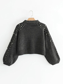 Bishop Sleeve Pearl Beading Crop Sweater