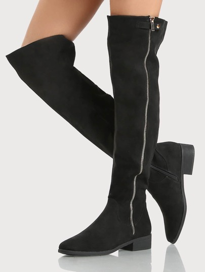 Round Toe Gold Hardware Faux Suede Thigh High Boots BLACK