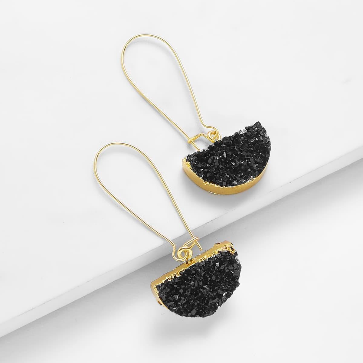 - Half Circle Design Drop Earrings