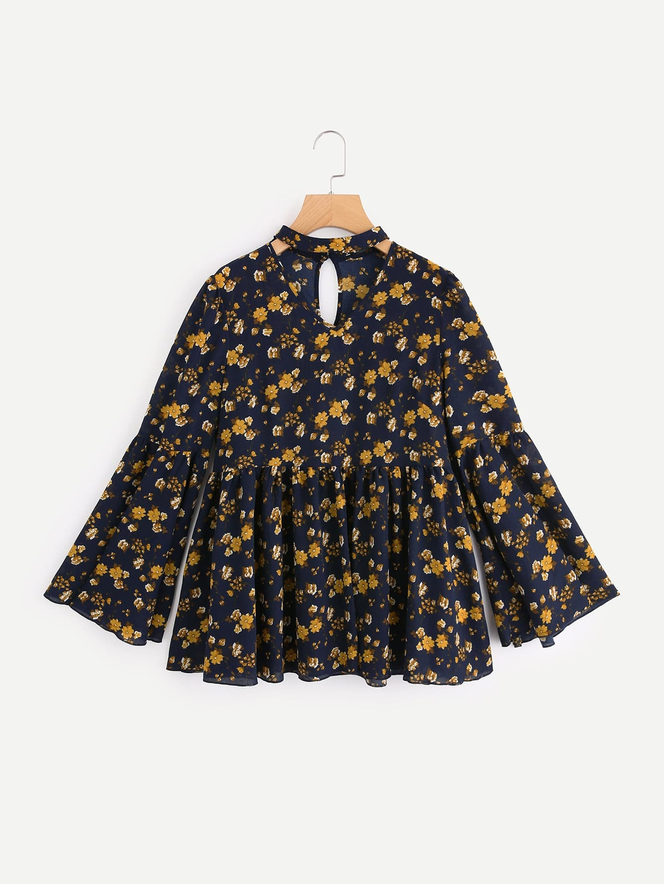 Choker Neck Bell Sleeve Ditsy Smock Top