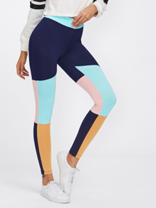 Cut And Sew Color Block Leggings