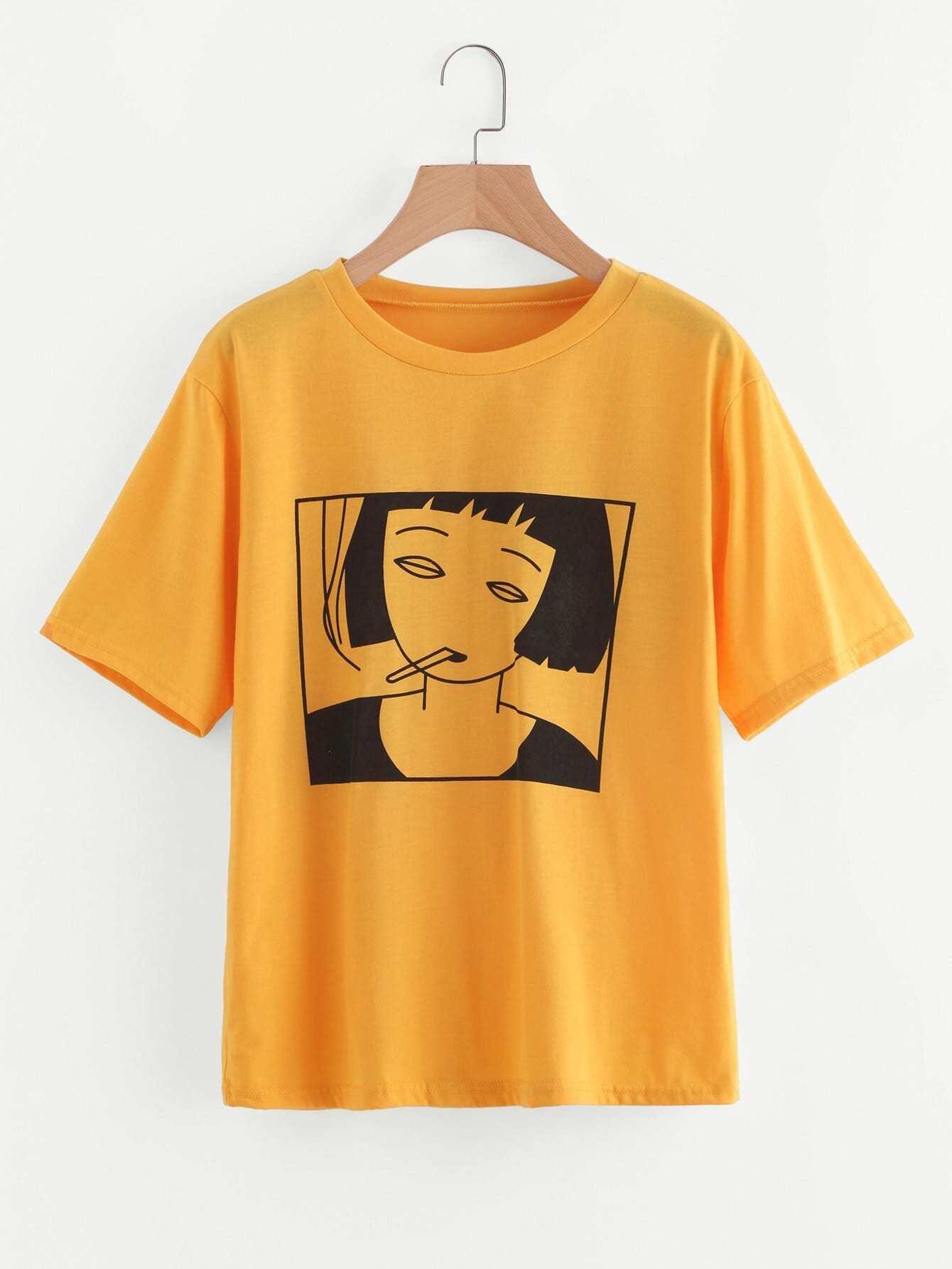 Girl Print TeeFor Women-romwe