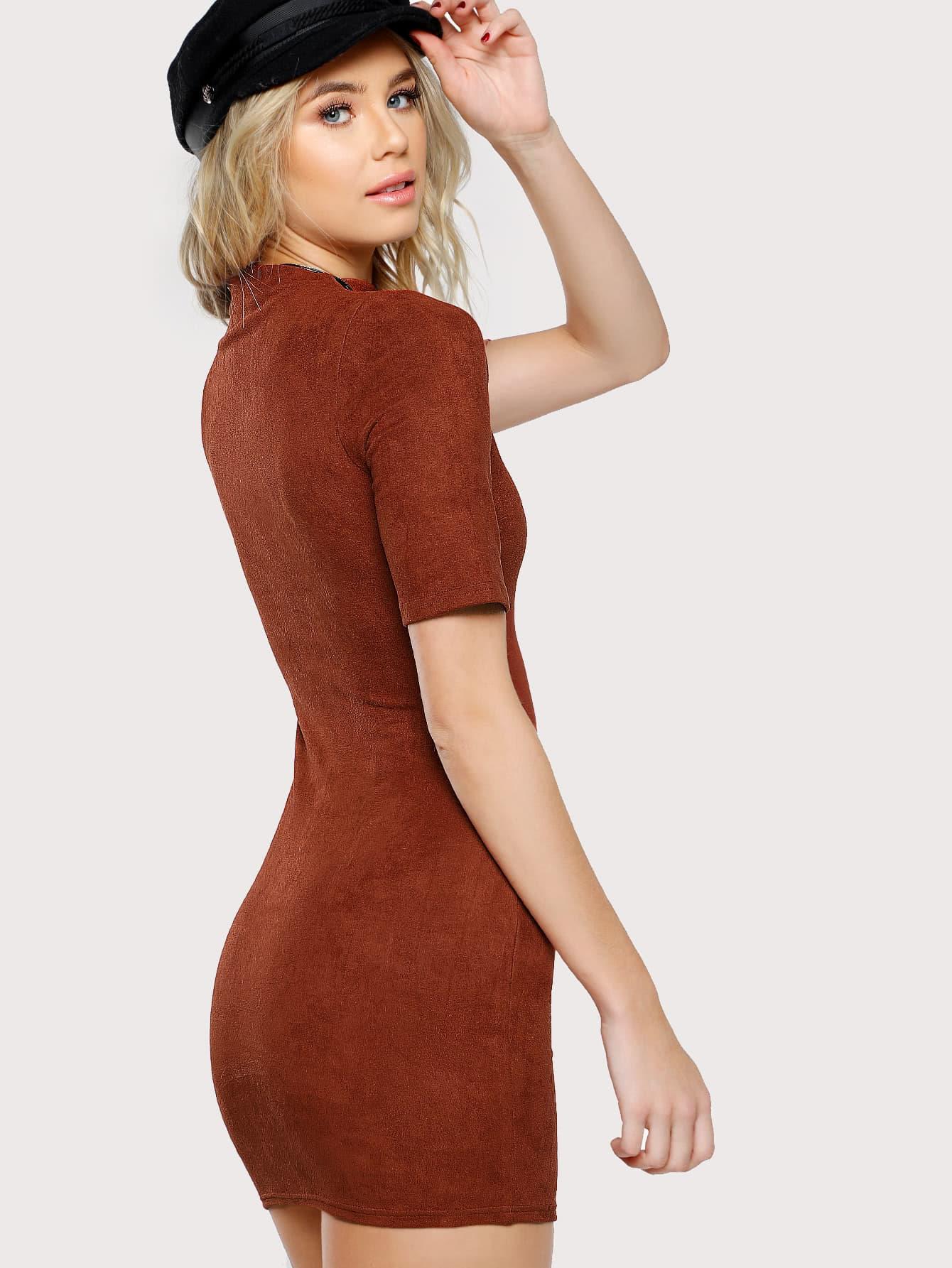Mock Neck Form Fitting Suede Dress Emmacloth Women Fast