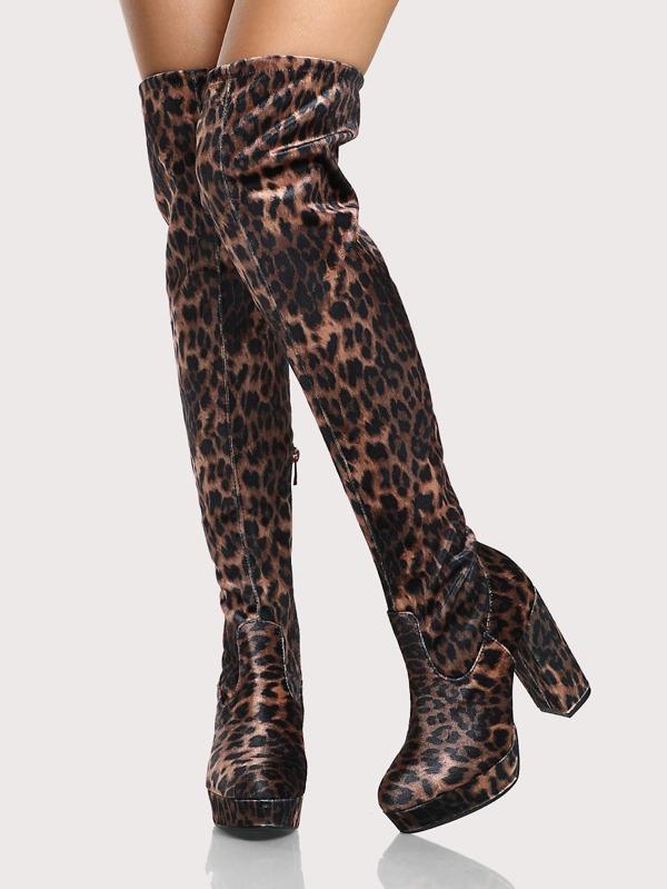 f4ef6c61728d Stretch OTK Leopard Print Boots LEOPARD | SHEIN