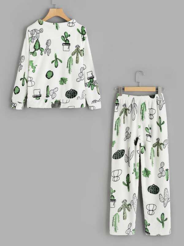079c40e5f0 Cactus Print Top And Pants Pajama Set