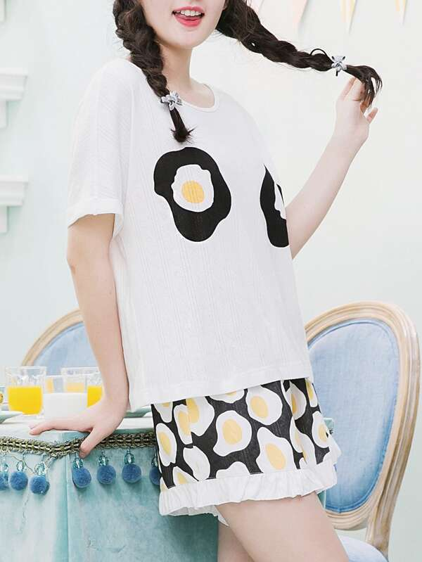 Fried Egg Print Tee   Shorts Pajama Set  394f32106