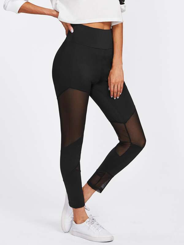 26f0d8628b80d3 Cheap Sheer Mesh Panel Zip Up Detail Leggings for sale Australia | SHEIN