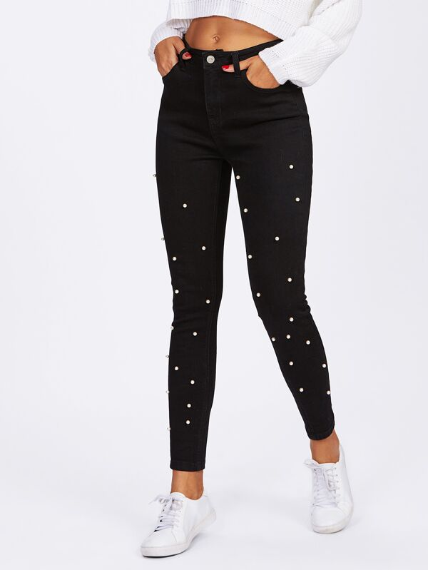 7d3b0b6e44 Pearl Beaded Front Jeans