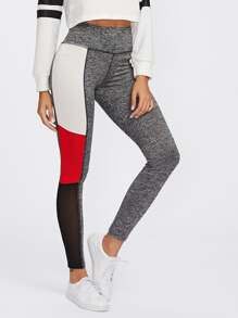 Cut And Sew Marled Knit Leggings