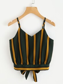 Striped Split Tie Back Crop Cami Top