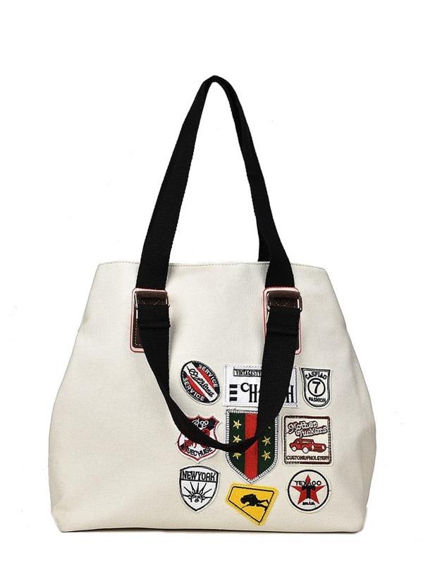 ef4dbf2903 Patch Detail Canvas Tote Bag | SHEIN