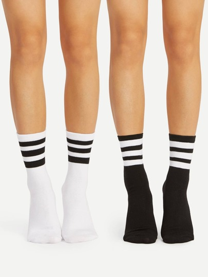 Striped Detail Ankle Socks 2pairs