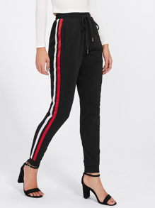 Satin Ribbon Sideseam Skinny Sweatpants