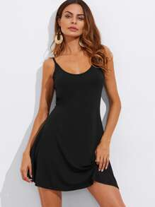 Black Backless Slip Dress