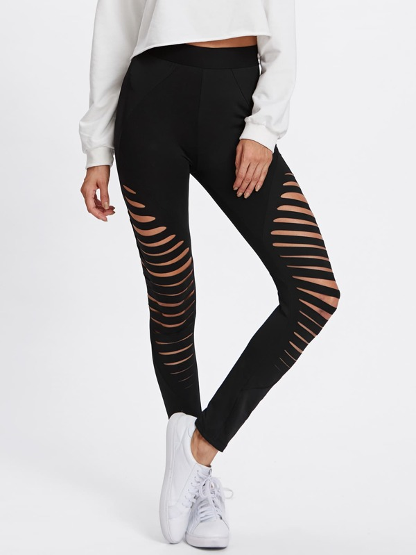 b3a23bdee15d02 Cut Out Empire Skinny Leggings -SheIn(Sheinside)