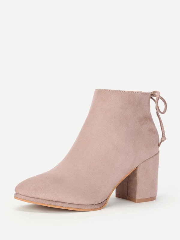 91139a6500 Lace Up Back Block Heeled Ankle Boots | SHEIN UK