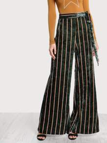 Striped Velvet Wide Leg Pants