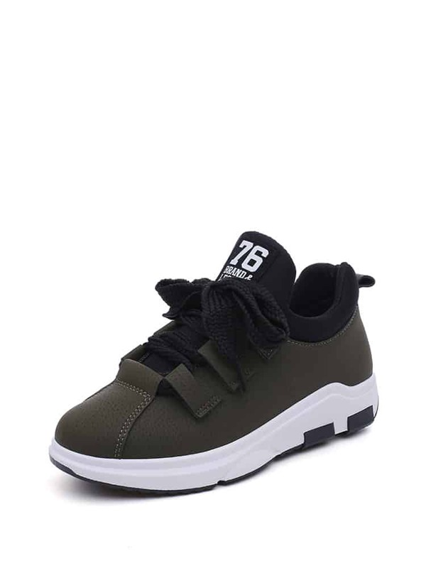 320b59ed189 Contrast Panel Lace Up Flatform Trainers
