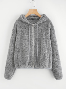 Zip Up Fuzzy Hoodie Teddy Jacket