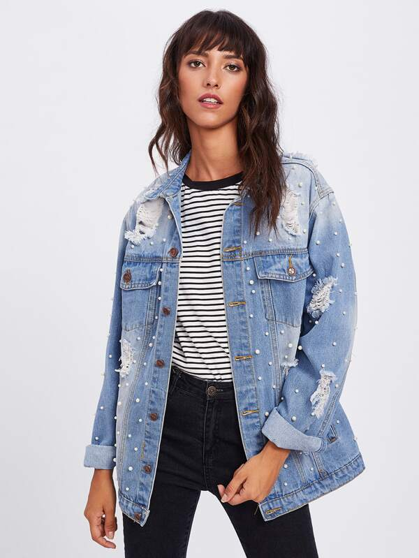 8052d75ca21 Pearl Beaded Bleached Wash Distressed Jacket