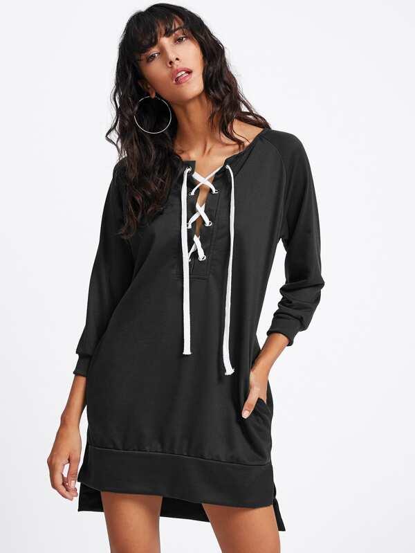 Grommet Lace Up Slit Side Raglan Sweatshirt Dress  0fb6d4ca4