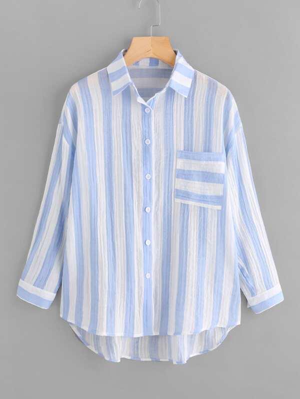 7c3e644a2300 Drop Shoulder Single Pocket Striped Crinkle Shirt   SHEIN
