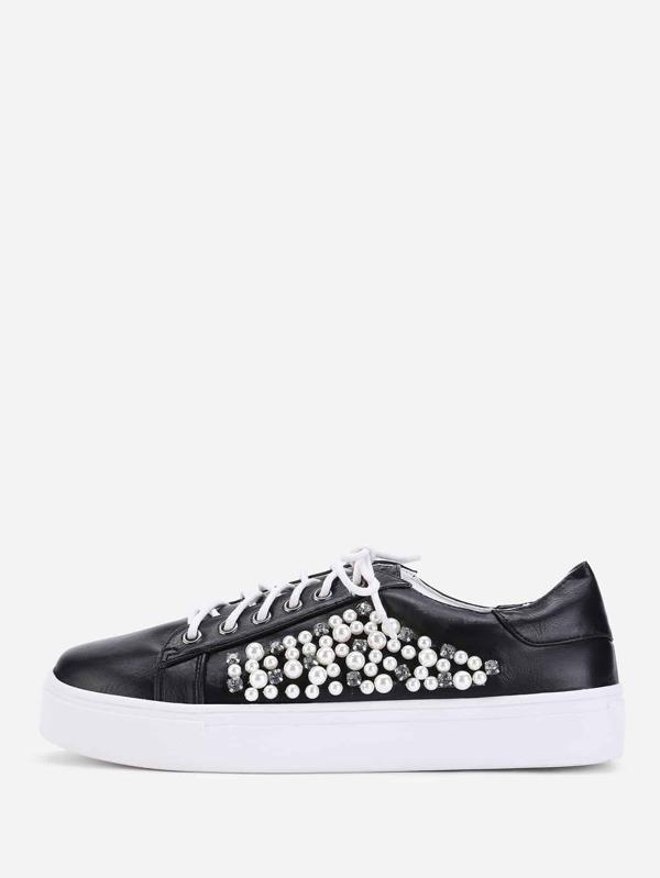 Chaussures de sport à lacets avec strass et perle fausse -French  SheIn(Sheinside)