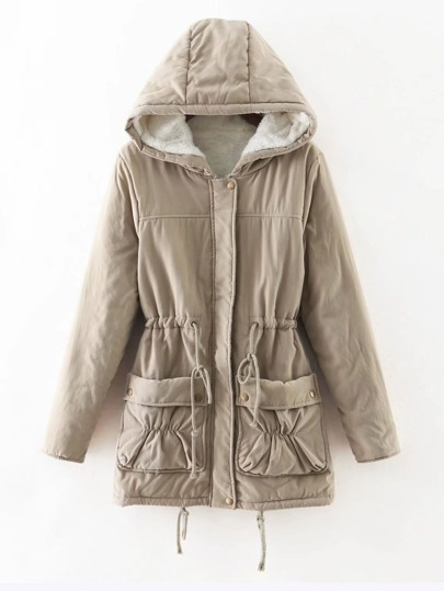 Faux Fur Lined Utility Parka Coat