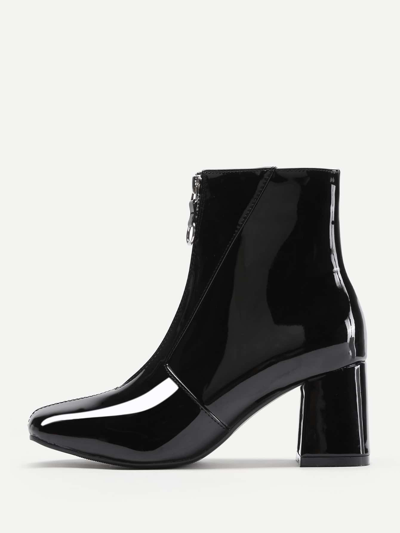 5966684fad0 Front Zipper Patent Leather Ankle Boots EmmaCloth-Women Fast Fashion ...