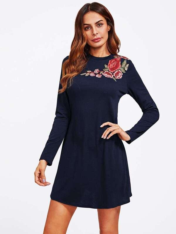 96df1710fe455 Flower Embroidery Applique Swing Tee Dress | SHEIN